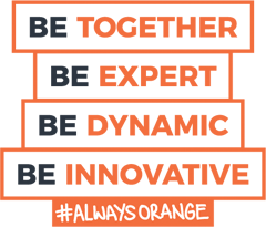 Be Together, Be Expert, Be Dynamic, Be Innovative, #Always Orange